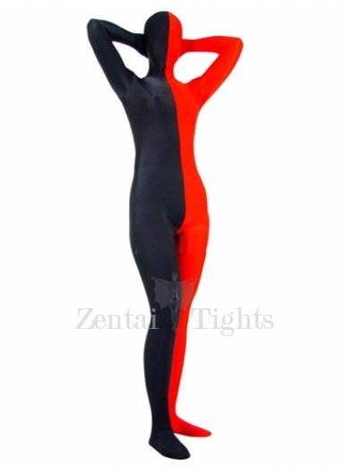 Full Body Morph Suit Zentai Tights Half Red Half Black Spandex Morph Suit Zentai Suit