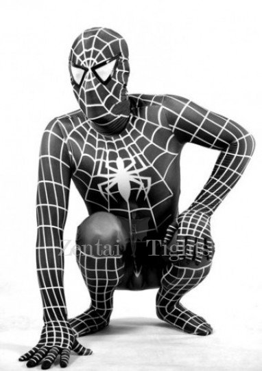 White Stripe Black Lycra Spandex Spiderman Morph Suit Zentai Costume - Spider man 3 Costume