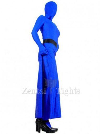 Skirt Style Blue Lycra Spandex Unisex Morph Suit Zentai Suit in