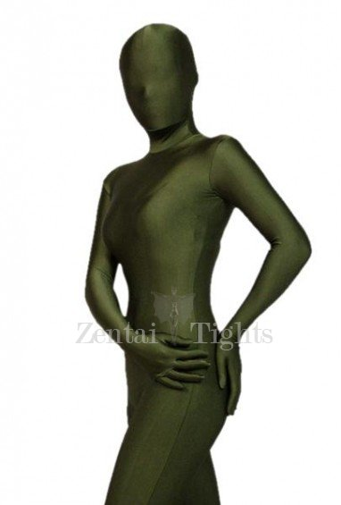 Unicolor Full Body Morph Suit Zentai Tights Army Green Lycra Spandex Morph Suit Zentai Suit
