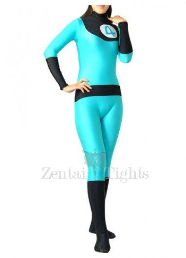 Fantastic 4 Blue And Black Lycra Spandex Unisex  Morph Suit Zentai Suit