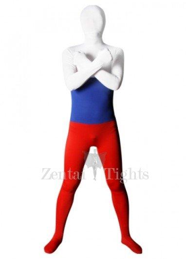 Pattern of Russian Flag Lycra Spandex Unisex Morph Suit Zentai Suit
