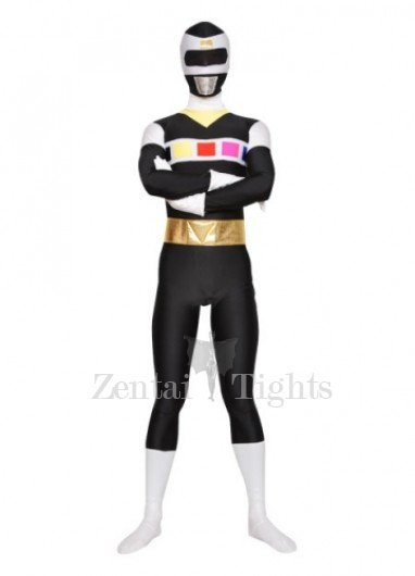 Black with White Unisex Lycra Morph Suit Zentai Suit