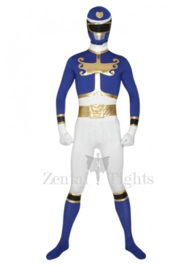 Blue And White Super Hero Lycra Morph Suit Zentai Suit