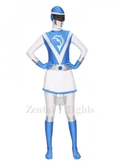 Blue and White Lycra Spandex Women Morph Suit Zentai Suit