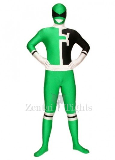 Green And Black Lycra Spandex Super Hero Morph Suit Zentai Suit