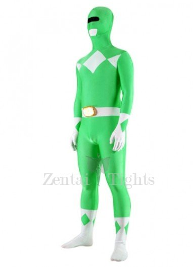 Green And White Lycra Spandex Unisex Super Hero Morph Suit Zentai Suit