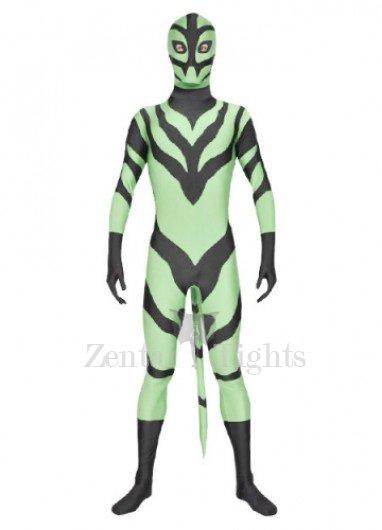 Green Black  Lycra Spandex Morph Suit Zentai Suit