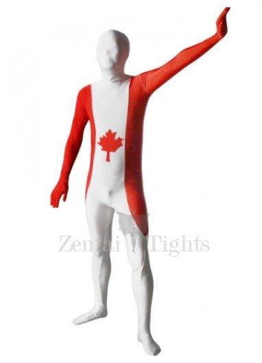 Pattern of Canadian Flag Unisex Lycra Morph Suit Zentai Suit