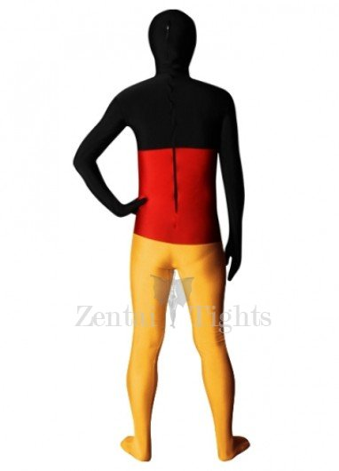Pattern of German Flag Lycra Spandex Unisex Morph Suit Zentai Suit