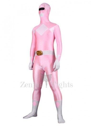 Pink Lycra Spandex Multicolor Super Hero Morph Suit Zentai Suit