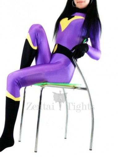 Purple With Black Lycra Spandex Morph Suit Zentai Catsuit