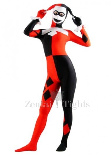 Red And Black Lycra Spandex Joker Morph Suit Zentai Suit