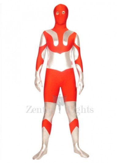 Red And Silver Lycra Spandex Super Hero Morph Suit Zentai Suit