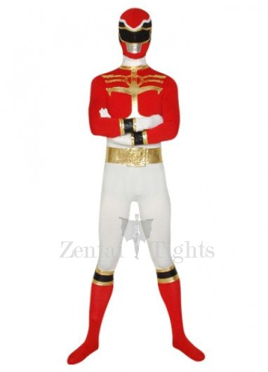 Red And White Super Hero Lycra Morph Suit Zentai Suit