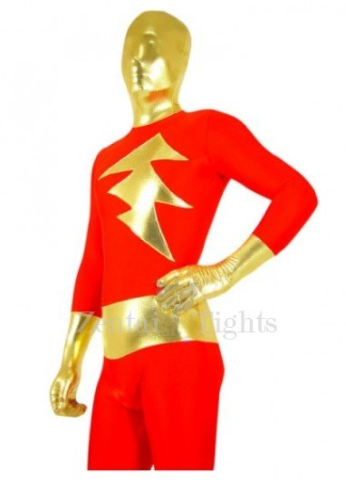 Red with Gold Shiny Metallic Lycra Spandex Super Hero Morph Suit Zentai Suit