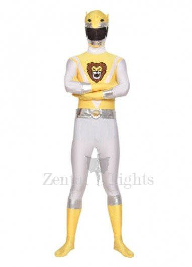 Top Top Yellow And White Shiny Metallic Lycra Super Hero Morph Suit Zentai Suit