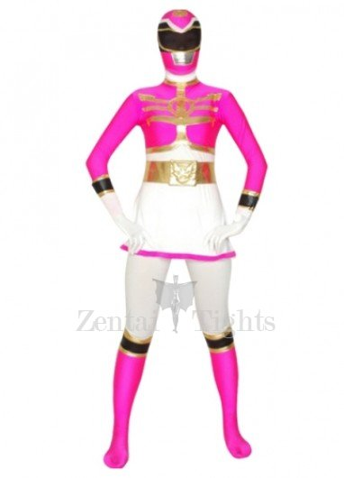 White And Rose Super Hero Lycra Morph Suit Zentai Suit