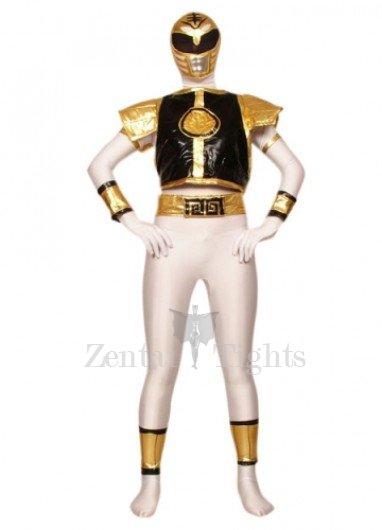 White with Black And Gold Lycra Spandex Super Hero Morph Suit Zentai Suit