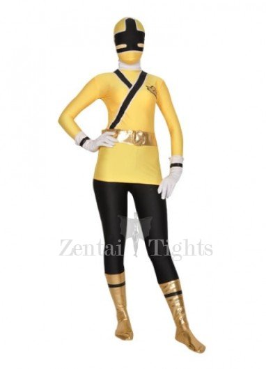 Yellow And Black Shiny Metallic Lycra Super Hero Morph Suit Zentai Suit
