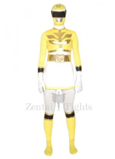 Yellow And White Super Hero Lycra Spandex Unisex Morph Suit Zentai Suit