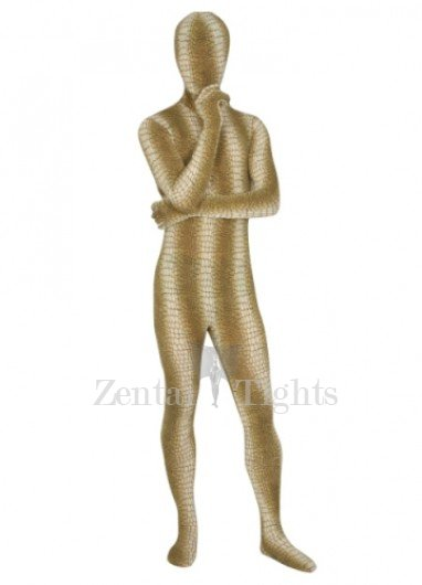 Yellow Brown Spandex Lycra Unisex  Morph Suit Zentai Suit