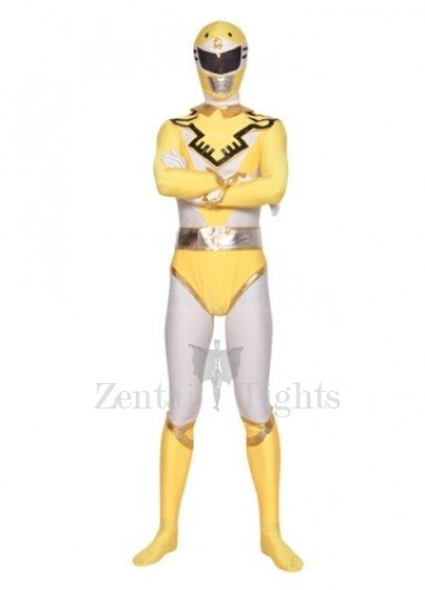 Yellow and White Lycra Spandex  Unisex Morph Suit Zentai Suit