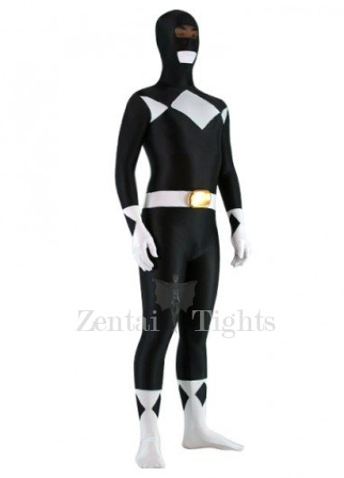 Black And White Lycra Spandex Unisex Super Hero Morph Suit Zentai Suit
