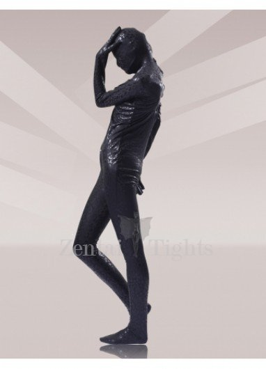Black Leopard Shiny Metallic Unisex Morph Suit Zentai Suits