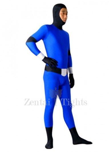 Blue And Black Lycra Spandex Super Hero Morph Suit Zentai Suit