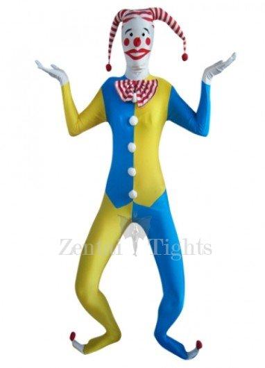 Blue And Yellow Clown Lycra Morph Suit Zentai Suit