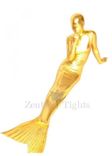 Gold Shiny Metallic Mermaid Trumpet Morph Suit Zentai Suit