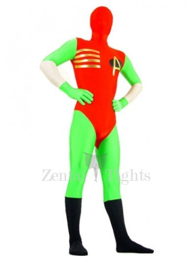 Green And Red Lycra Spandex Super Hero Morph Suit Zentai Suit