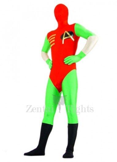 Green And Red Lycra Spandex Super Hero Morph Suit Zentai Suit