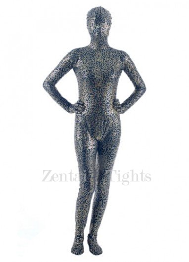 Quality Black Golden PVC Unisex Morph Suit Zentai