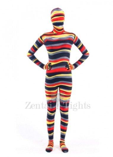 Quality Colorful Stripe Lycra Unisex Breathable Morph Suit Zentai