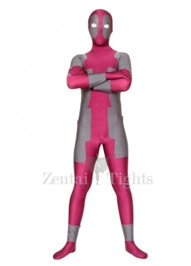 Rose Pink And Gray Lycra Spandex Morph Suit Zentai Suit