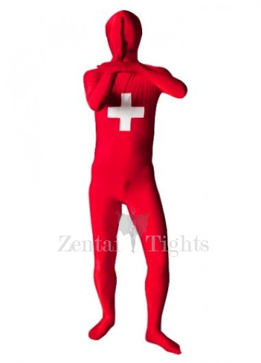 Switzerland Flag Pattern Unisex Lycra Morph Suit Zentai Suit