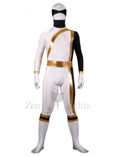 White And Gold Lycra Spandex Shiny Metallic Super Hero Morph Suit Zentai Suit