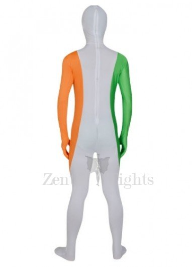 White Orange And Green Lycra Morph Suit Zentai Suit For Men
