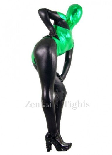 Black And Green Shiny Metallic Morph Suit Zentai Suit