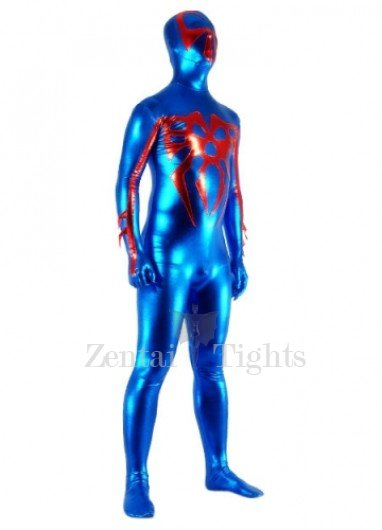 Blue And Red Shiny Metallic Super Hero Morph Suit Zentai Suit