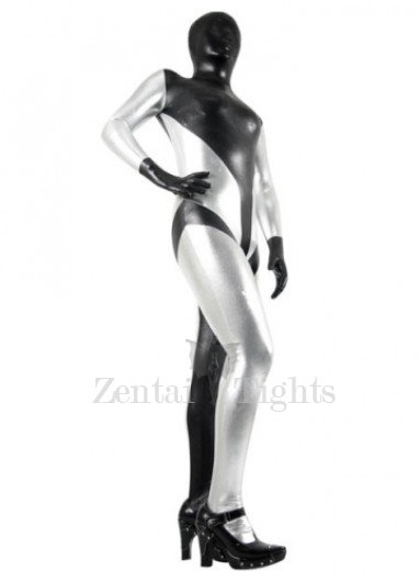 Classic Black And Silver Shiny Metallic Morph Suit Zentai Suit
