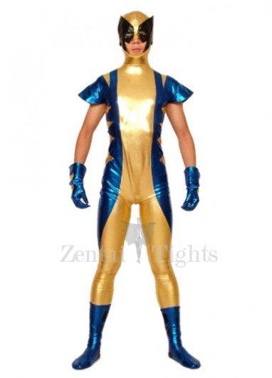 Gold Blue And Black Shiny Metallic Super Hero Morph Suit Zentai Suit