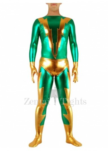 Green & Golden Shiny Metallic Morph Suit Zentai Suit