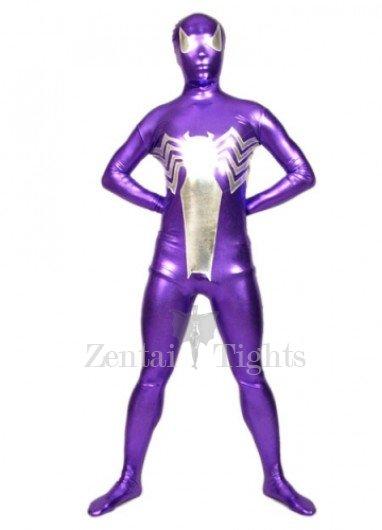 Purple And Silver Shiny Metallic Morph Suit Zentai Suit