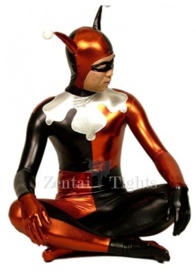 Red Black And Silver Shiny Metallic Morph Suit Zentai Suit