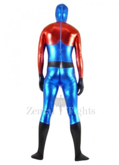 Red Blue and Black Shiny Metallic Super Hero Morph Suit Zentai Suit