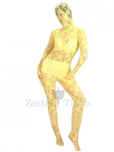 Yellow Transparent Lace Velour Morph Suit Zentai Suit