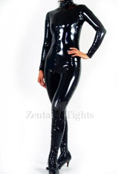Black Shiny Heavy Metallic PVC Catsuit